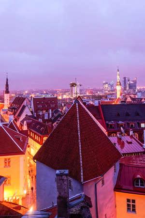 tallinn: Tallinn evening skyline in winter Christmas week