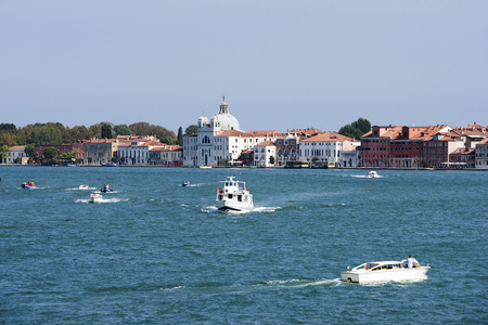 motorboats: Civil water traffic of motorboats and water taxi in summer Venice