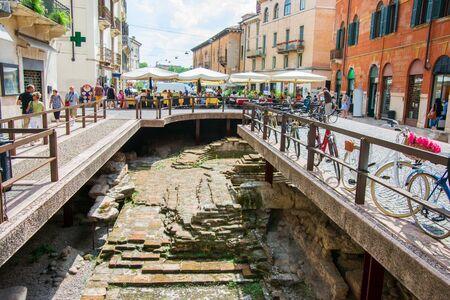 dig: Street in Verona with archaeological dig site of antique period