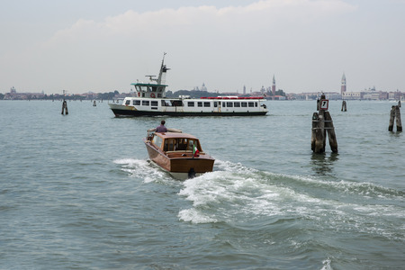 waterbus: Water traffic of water-bus and water taxil boats in summer Venice