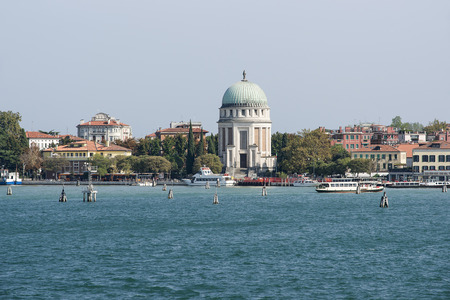 lido: Lido island waterfront and water transport in summer Venice Stock Photo
