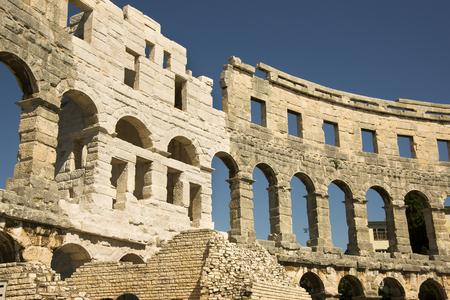 roman amphitheater: Wall of antique Roman amphitheater in Pula