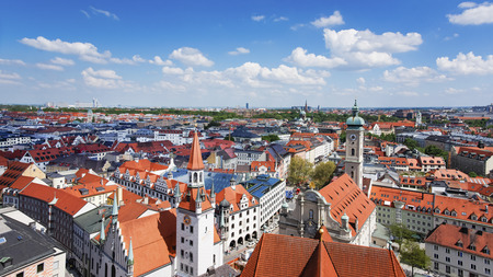 spires: Munich city center and old town skyline view to old town, roofs and spires Stock Photo