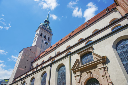 saint peter: Saint Peter Cathedral in Munich at summer sunshine
