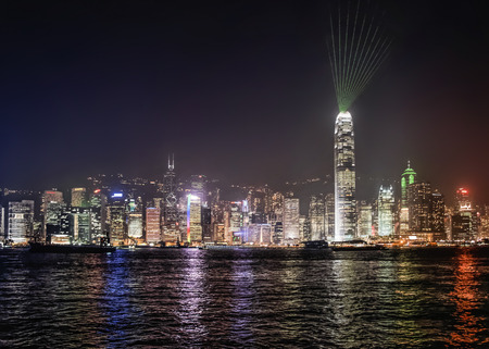 Hong Kong harbor and night skyline at symphony of lights night show photo