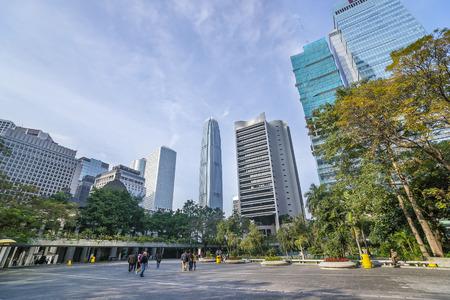 striping: Skyscraper skyline and pedestrian traffic view in central Hong Kong (Hong Kong island)
