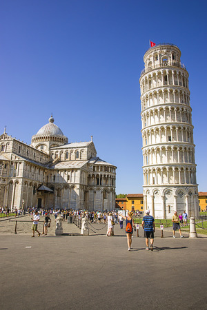 bell tower: Pisa Leaning bell tower and Cathedral in Italy in summertime Editorial