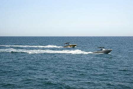 motorboats: Civil motor-boats in summer Puerto Banus Stock Photo
