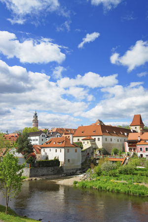 krumlov: River and roofs of city of Cesky Krumlov in spring Stock Photo