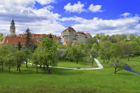 city park skyline: City skyline of Cesky Krumlov view from city park in spring