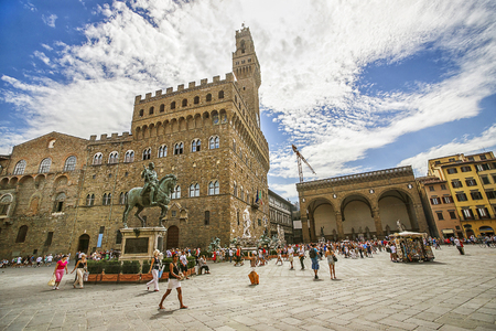 Old Palace (Palazzo Vecchio) on Square of Signora (Piazza della Signoria) in Florence in Italy in summer