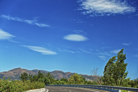 cote d'azur: Curve in the road in Provence mountains, Cote d`Azur in summer Stock Photo