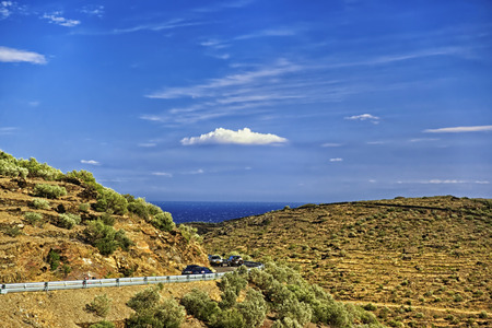cote d'azur: Serpentine road and cars in Provence mountains, Cote d`Azur in summer