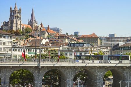 Lausanne Cathedral view over the bridge in summertime Standard-Bild