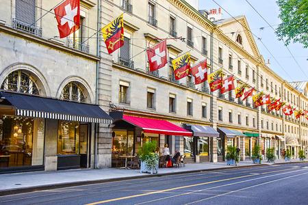 Geneva street view in summertime
