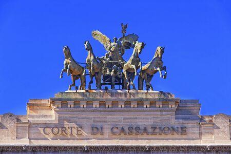 quadriga: Bronze quadriga on the top of Palace of Justice in Rome, Italy