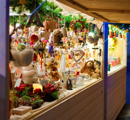 traditional goods: Traditional Christmas goods displayed for sale at a Christmas Market in Vilnius, Lithuania