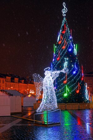 town hall square: Night view of the Christmas tree at Town Hall Square on December 24, 2014 in Vilnius, Lithuania Editorial