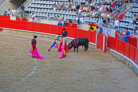 torero: BARCELONA, SPAIN - AUGUST 01, 20120: Torero bullfighter is attacking the bull during a bullfight in Barcelona. The Plaza Monumental de Barcelona La Monumental. Barcelona. Catalonia. Spain Editorial
