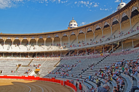 monumental: BARCELONA, SPAIN - AUGUST 01, 2010: The Plaza Monumental de Barcelona La Monumental - Bullring and Bullfighting Museum - interior view on August 01, 2010, Spain Editorial