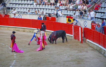 corrida: BARCELONA, SPAIN - AUGUST 01, 2010: Tourists, enjoying corrida bullfighting - a Spanish national amusement Editorial