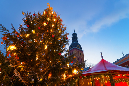 old towns: Snowcapped Christmas tree and the Christmas market at Old Towns Dome Square, Riga, Latvia. Riga is thought to be the City where the tradition of decorating the Christmas Tree started