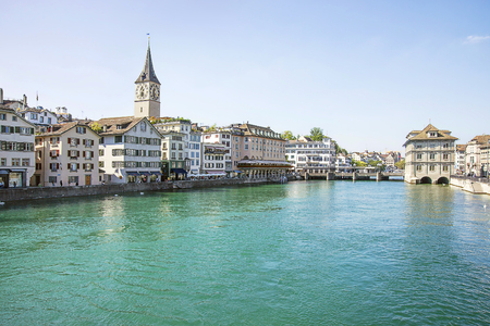 Zurich city center and quay of Limmat in summer, Switzerland