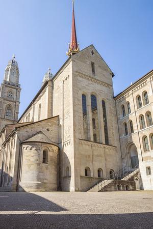 grossmunster cathedral: Grossmunster cathedral side view in Zurich in Switzerland in summer Stock Photo