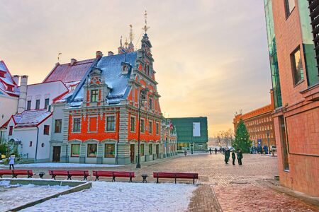 fraternit�: Building of the Brotherhood of Blackheads in the Old Town of Riga (Latvia) at a beautiful winter day