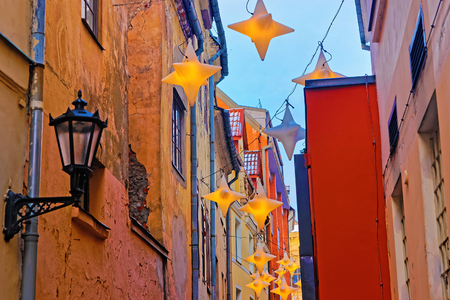 old buildings: Illuminated street in old part of Riga. Christmas time in Latvia