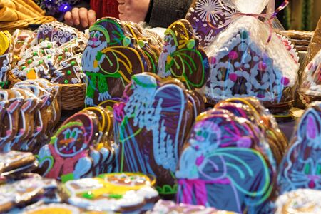 shopping scene: Huge variety of gingerbread cookies at the Christmas market in Old Town of Riga, Latvia Stock Photo