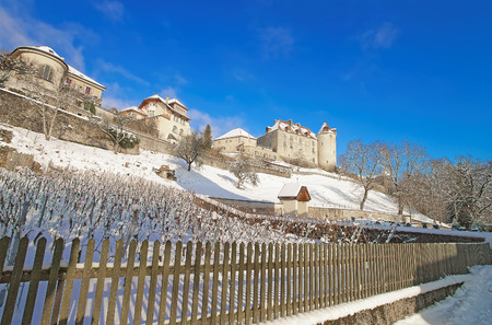 significance: View of the Gruyere castle, located in the medieval town of Gruyeres, Fribourg, one of the most famous in Switzerland. It is a Swiss heritage site of national significance