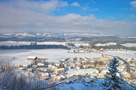 gruyere: Panoramic view of picturesque small villages located in the region of Gruyere, province of Fribourg, Switzerland Stock Photo