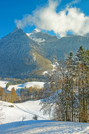 gruyere: Snowy mountains landscape. Region of Gruyere, province of Fribourg, Switzerland