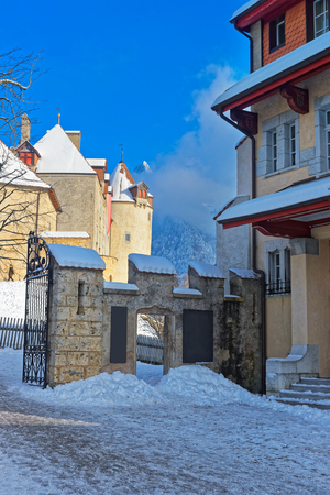 gruyere: Swiss village Gruyere in winter. Switzerland. It is an important tourist location in the upper valley of the Saane river, and gives its name to the well-known Gruyere cheese