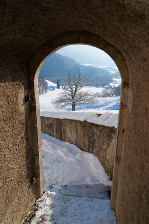 gruyere: Passage in the Castle of Gruyeres in Switzerland. It is an important tourist location in the midst of the Fribourg green pre-Alpine foothills and gives its name to the well-known Gruyere cheese Editorial