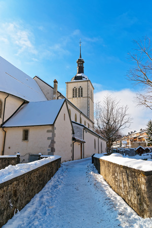 gruyere: Picturesque old church near Gruyere castle on a sunny winter day, Switzerland