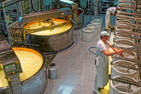 gruyere: GRUYERE, SWITZERLAND - DECEMBER 31, 2014: Production of Gruyere cheese at the cheese factory in a historical town of Gruyeres, canton of Fribourg, Switzerland Editorial