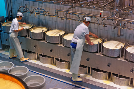 food production: GRUYERE, SWITZERLAND - DECEMBER 31, 2014: Workers during the process of production of Gruyere cheese at the Maison du Gruyere, a famous cheese-making factory in Switzerland Editorial
