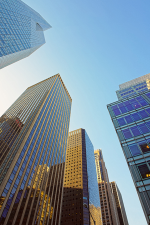 financial district: Low angle view of skyscrapers in the Financial District of New York City, USA