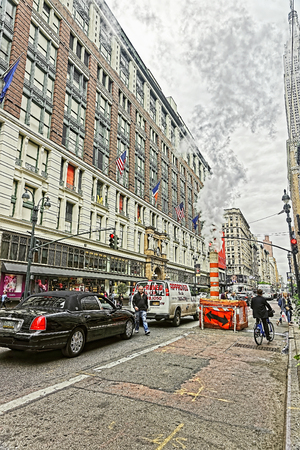 macys: NEW YORK, USA - MAY 06, 2015: View of Macys Department store in Herald Square Manhattan, New York City, USA. Toned. Editorial