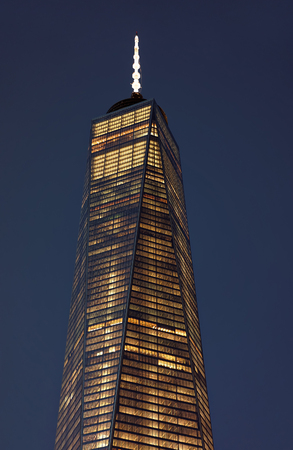 wtc: Close up of top facade of Freedom Tower in Lower Manhattan. Freedom Tower is a former name of One World Trade Center (WTC). When it was completed, it became the fourth tallest building in the world Stock Photo