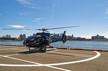 helipad: Helicopter parked at the helipad. New York City, USA Stock Photo