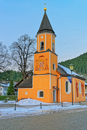 former years: Exterior of the chapel of St. Sebastian in Garmisch-Partenkirchen in the Bavarian Alps, Germany. It is located on the site of the former plague cemetery, which was set up during the Thirty Years War Stock Photo