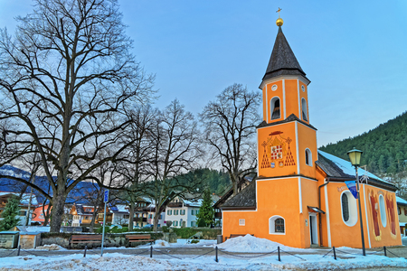 former years: Exterior view of the chapel of St. Sebastian in Garmisch-Partenkirchen, Bavarian Alps, Germany. It is located on the site of the former plague cemetery, which was set up during the Thirty Years War Stock Photo
