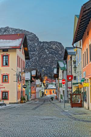 zugspitze mountain: GARMISCH-PARTENKIRCHEN, GERMANY - JANUARY 06, 2015: Garmisch-Partenkirchen decorated for Christmas. It is a mountain resort in the valleys of the Bavarian Alps beneath the towering Zugspitze peak Editorial