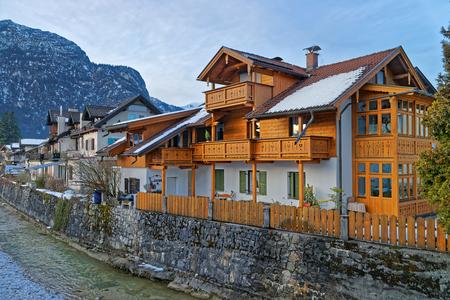 zugspitze mountain: Typical wooden chalet in Garmisch-Partenkirchen. It is an idyllic mountain resort town in the valleys of the Bavarian Alps beneath the towering Zugspitze peak