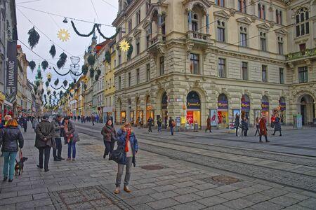 GRAZ, AUSTRIA - JANUARY 7, 2014: Street view of Herrengasse in Graz of Austria with Christmas decoration Editorial