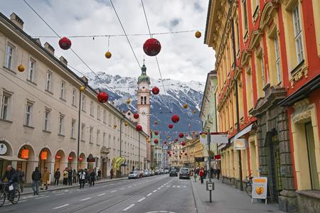 weihnachtsmarkt: INNSBRUCK, AUSTRIA - JANUARY 4, 2010: St Josef Church in Innsbruck in Austria at Christmas
