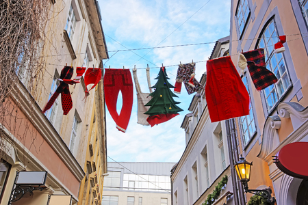 Christmas installation in the Old city of Riga in Latvia Stock Photo